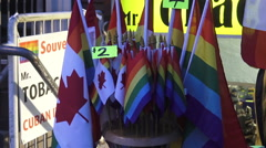 Pride flags on sale at the Toronto's 35th Annual Pride Parade 2015 Stock Footage