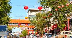 4K Hanging Lanterns in Chinatown on a Summer Day Stock Footage