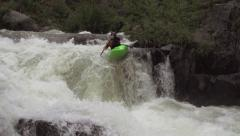 Extreme Kayaker Going Down White Water Rapid - stock footage