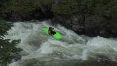 Extreme Whitewater Kayaker Going Down Chute Stock Footage