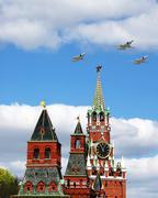 Aircraft over the Kremlin - stock photo