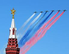 Aircraft over the Kremlin - stock photo