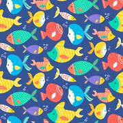 Seamless pattern of different kind sea multicolored fishes - stock illustration