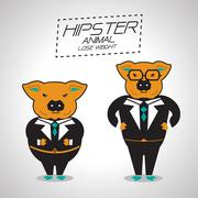 Lose weight pig businessman Stock Illustration