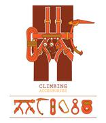 Stock Illustration of orange yellow climbing accessories outfit