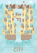 Waterfall city ,blue brown and orange tone concept Stock Illustration