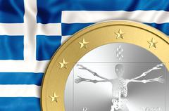 Greece and euro death - stock illustration