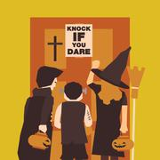 Poster, Flat banner or background for Halloween Party Night. Dracula, Franken Stock Illustration
