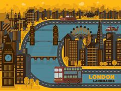 Travel London (England) city,vector background. Flat trendy illustration Stock Illustration
