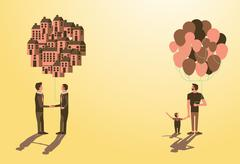 Balloon Asset for kid,call dad want to be businessman idea Stock Illustration
