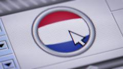 Press button with flag of Netherlands. Stock Footage