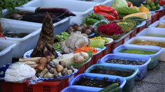 Fresh vegetables on street market in Dali old town Stock Footage