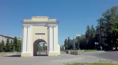 Tarskie gate - the first gate historic Omsk fortress Stock Footage