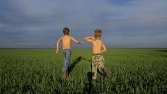Two boys are playing catch-up in green field Stock Footage
