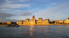 The Hungarian Parliament Building in the evening light Stock Footage