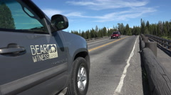 Vehicle Traffic Fishing Bridge Yellowstone National Park 4K Stock Footage