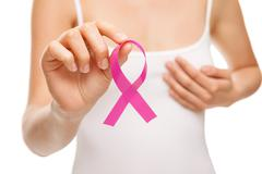 Woman with breast cancer awareness ribbon Stock Photos