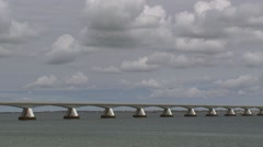 Traffic across the Zeeland Bridge, crossing the Eastern Scheldt Stock Footage
