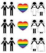 Lesbian brides and gay grooms icon 3 set with rainbow element Stock Illustration