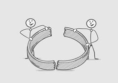 broken ring, divorce - stock illustration