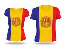 Flag shirt design of Andorra Stock Illustration