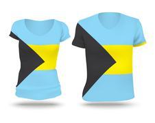 Flag shirt design of Bahamas - stock illustration