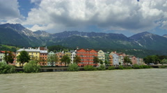 Panoramic 4K UHDTV view of Innsbruck downtown, Austria Stock Footage