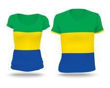 Flag shirt design of Gabon - stock illustration