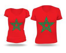 Flag shirt design of Morocco - stock illustration
