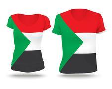 Flag shirt design of Sudan - stock illustration