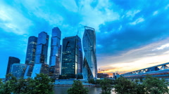 Modern city skyscrapers. Moscow skyline. Changing from dusk to night. Stock Footage