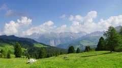 Panoramic 4K UHDTV view of typical landscape in Dolomites - stock footage