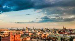 Moscow panorama.  Aerial view. Sunset time. Kremlin and downtown. 200 - stock footage