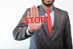 Stop Sign on Hand Stock Photos