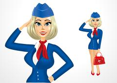beautiful realistic stewardess with bag - stock illustration