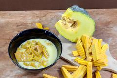 Coconut Milk Stewed Pumpkin - stock photo