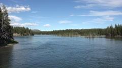 Yellowstone River downstream Fishing Bridge 4K - stock footage