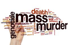 Mass murder word cloud Stock Photos