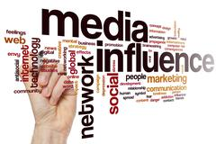 Media influence word cloud - stock photo