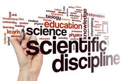 Scientific discipline word cloud Stock Photos