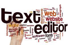 Text editor word cloud Stock Photos