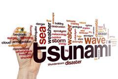 Tsunami word cloud Stock Photos