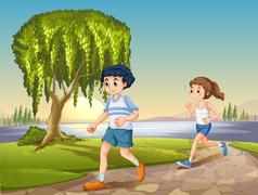 Couple jogging Stock Illustration