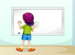 Boy writing Stock Illustration