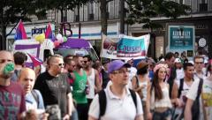 Crowded Street Protest, Paris 2015 Stock Footage
