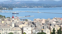 Old town Kerkyra and port Corfu Greece Stock Footage