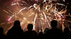 People watching fireworks Stock Footage