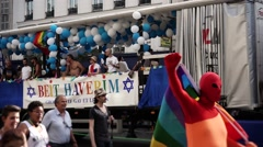 Jewish Truck Gay Pride, Paris 2015 Stock Footage