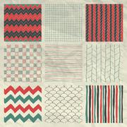 Pen Drawing Seamless Patterns on Crumpled Paper Texture - stock illustration