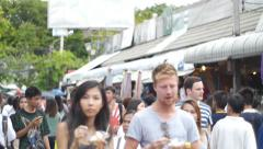 Crowd people walking on Chatuchak Weekend Market. Bangkok, Stock Footage